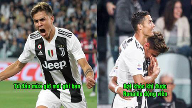 CHÙM ẢNH: Ghi được bàn thắng đầu tiên của mùa giải, Dybala khóc nức nở khi Ronaldo ôm vào lòng