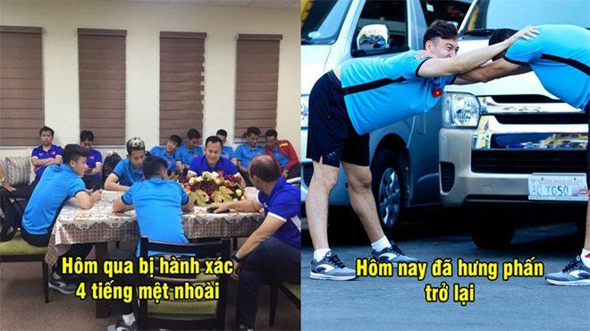 CHÙM ẢNH: Tuyển Việt Nam tập thể dục tại khách sạn ở Bacolod, sau 4 tiếng bị hành xác ở sân bay, tinh thần đã hưng phấn trở lại