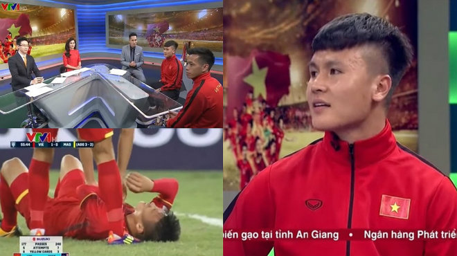 """Bị MC Quốc Khánh hỏi """"đau thật hay đau chiến thuật"""", Quang Hải cười tinh quái đáp trả cực chất"""