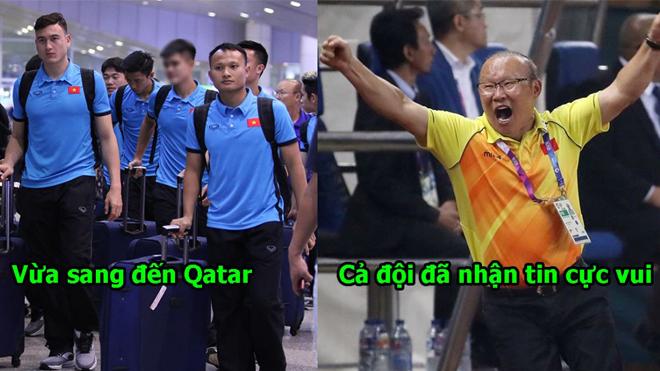 Vừa sang Qatar, ĐT Việt Nam đã nhận tin cực vui, thầy Park sướng quá nhảy cẫng lên như trẻ con
