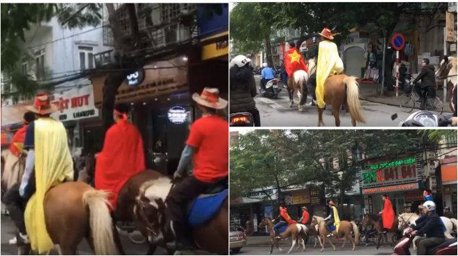 """Đáp trả sự khiêu khích từ Malaysia, CĐV Hải Phòng """"chơi lớn"""" cưỡi ngựa xuống đường cổ vũ đội tuyển Việt Nam"""