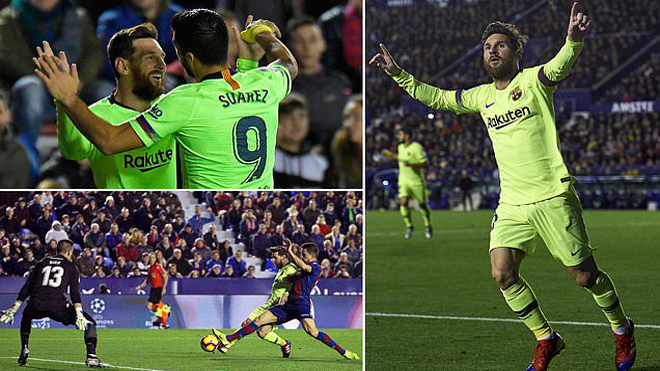 Messi tỏa sáng như một vị thần, Barca vùi dập Levante với tỷ số không tưởng
