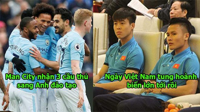 Quá ấn tượng với tài năng siêu việt của cầu thủ Việt Nam, Man City đã chọn 3 viên ngọc mang sang Anh đào tạo