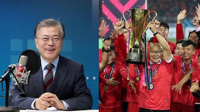 """Tổng thống Hàn Quốc: """"Xin chúc mừng đội tuyển Việt Nam và HLV Park Hang-seo; tôi cảm thấy xúc động khi CĐV nước bạn giương cao cờ Việt Nam và Hàn Quốc tại trận chung kết"""""""