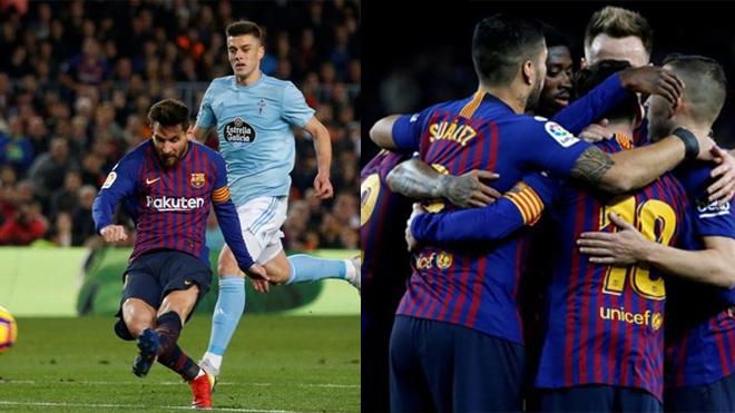 Messi lại rực sáng thần thánh, Barca dễ dàng hạ gục Celta Vigo, vững vàng ngôi đầu bảng