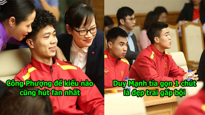 CHÙM ẢNH: Công Phượng, Duy Mạnh cùng ra mắt kiểu đầu quá chất trong lúc ngồi chờ yết kiến Thủ tướng