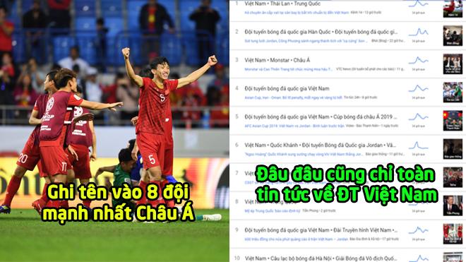 """Lọt vào 8 đội mạnh nhất Châu Á, từ khóa """"Đội tuyển Việt Nam"""" thống trị bảng xếp hạng sáng 21/1"""