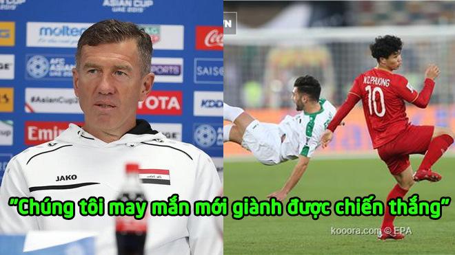 """HLV Iraq tâm phục khẩu phục: """"Chúng tôi phải may mắn mới thắng được, một cầu thủ VIệt Nam đá quá hay"""""""