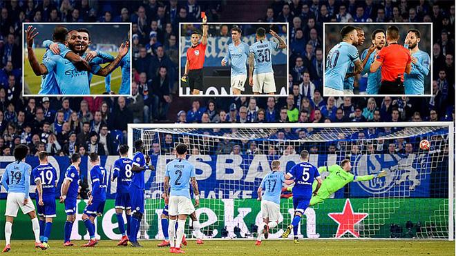 Otamendi lãnh thẻ đỏ, Man City lội ngược dòng nghẹt thở trước Schalke 04