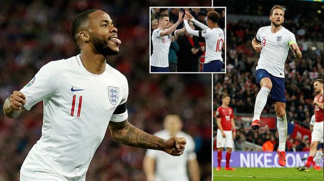 """Sterling lập hattrick, Anh """"hủy di.ệt"""" CH Séc ngay tại thánh địa Wembley"""