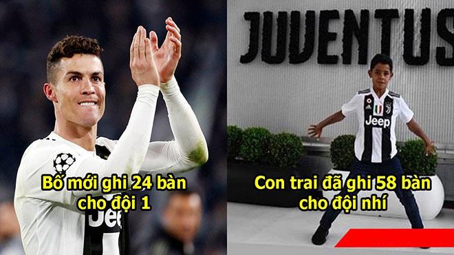 Trong khi Ronaldo thăng hoa ở đội 1 Juventus thì con trai cả lập kỷ lục ghi bàn giúp đội U9 bay cao trên BXH