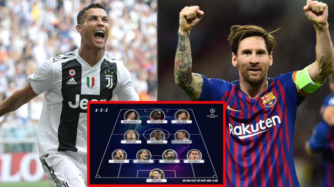 Đội hình tiêu biểu vòng 16 đội Champions League: Cặp siêu nhân xuất chúng Ronaldo – Messi lĩnh xướng hàng công
