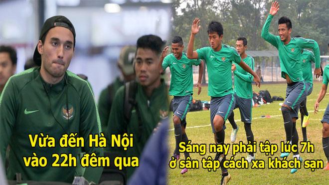 Chân ướt chân ráo Việt Nam, U23 Indonesia phải di chuyển hơn 60km trong buổi tập đầu tiên tại Hà Nội