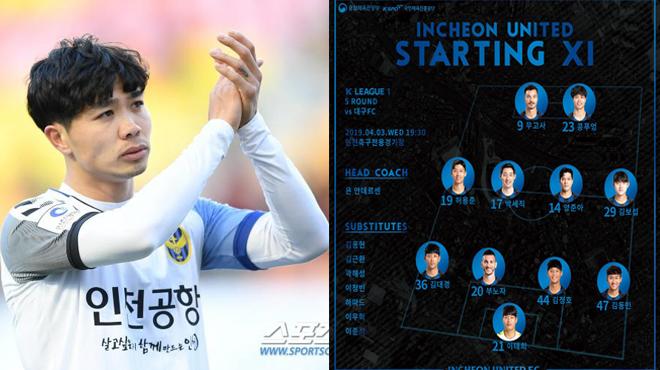 CỰC HOT: Vòng 5 K League, Công Phượng CHÍNH THỨC được HLV Incheon trao suất đá chính