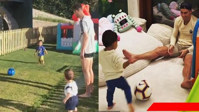 Nhị công tử mới 2 tuổi nhà Ronaldo phô diễn kỹ năng ghi bàn siêu đỉnh, sắp nối nghiệp cha được rồi